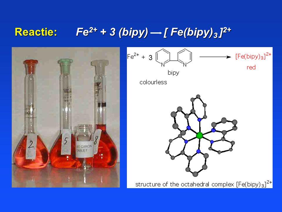 Reactie: Fe2+ + 3 (bipy) [ Fe(bipy)3 ]2+
